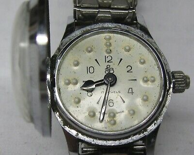Rare Vintage Afb 17J  Blind Braille Swiss Watch Running & Keeping Time