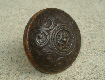 "Antique Victorian Cast Iron Door Knob Doorknob 2 1/4"" Vintage Hardware ORNATE"
