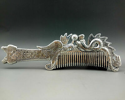 Old Collectibles Decorated Handwork Miao Silver Carving Elegant Comb  A107