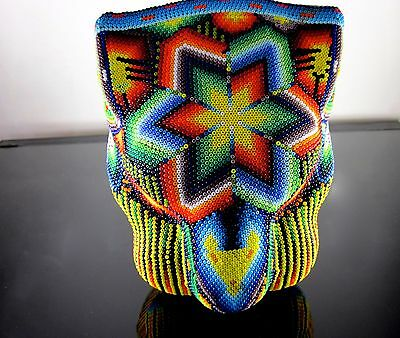 Huichol Beaded Jaguar Head Signed Unique Mexican Folk Art Panther Wall Hanging