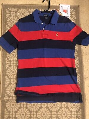 POLO RALPH LAUREN Boys 18-20 Red Blue Striped SHORT SLEEVE Polo Jersey