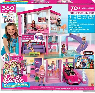 Barbie Dream House Dreamhouse New Fully Furnished 8 Rooms 3 Stories 70+ Acc Pool