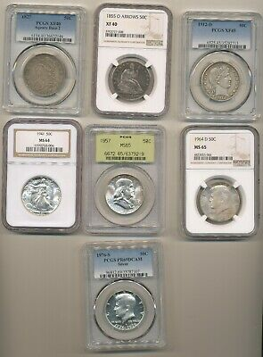Us Half Dollar Type Set Collection - Capped Bust Liberty To Kennedy Ngc & Pcgs