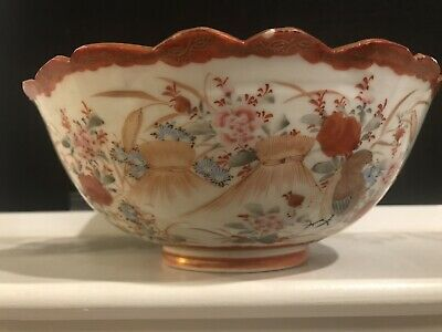 Large Meiji Period Japanese Hand painted Bowl By Hino Yoshiji 8.5 Inches Wide