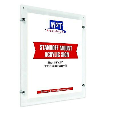 Clear Acrylic Sign Holder for Wall Mount with Magnets and Hardware (8.5x11)