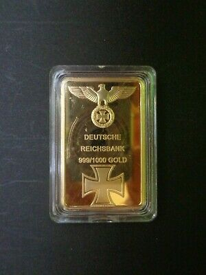 German.deutsche Reichsbank.in Capsual Gold Bar. 99.9% Gold Plated.nice