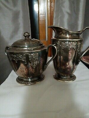 """1847 Rogers Bros. """"Her Majesty"""" Water Pitcher / CREAMER AND SUGAR BOWL  009048"""