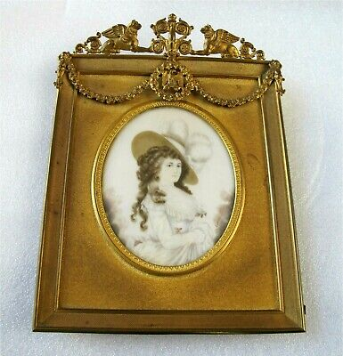 1800's ANTIQUE  MINIATURE PAINTING  NOBLE LADY BY LARCCY Ist EMPIRE