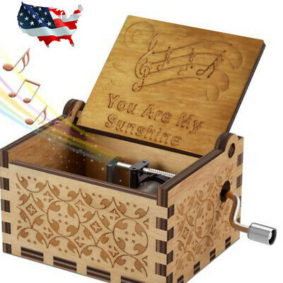 "US Wooden Music Box ""You Are My Sunshine"" Engraved Musical Case Toys Kids Gift A"