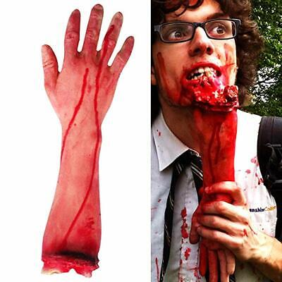 1Pc Bloody Fake Latex Dead Body Part Severed Horror Arm Hand Halloween Prop @^