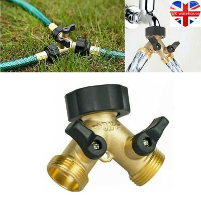 2 Way Brass Hose Pipe Valve Splitter Quick Connector Adaptor Y-shaped Garden Tap