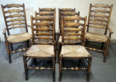 Set Of Eight Titchmarsh And Goodwin Oak Ladder Back Dining Chairs