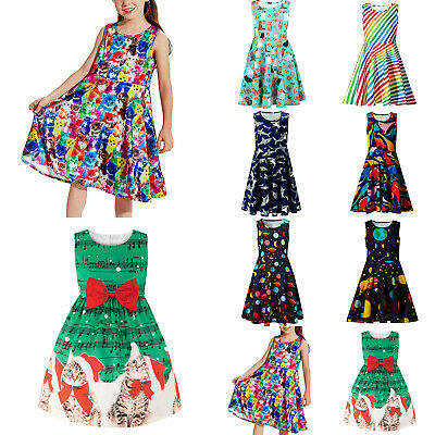 Kids Girls Christmas Festival Sleeveless Cute Floral Casual Skater Dress Costume