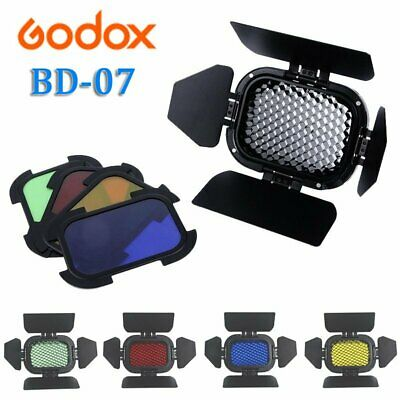 Godox BD-07 Barn door with Honeycomb Grid + 4 Color Filter For AD200 Flash Light