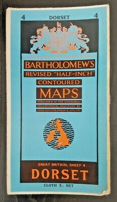 "Bartholomew's Cloth ""Half-Inch"" Contoured Map. Sheet Number 4 DORSET"
