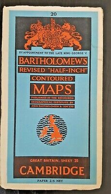 "Bartholomew's ""Half-Inch"" Contoured Map. Sheet Number 20 CAMBRIDGE"