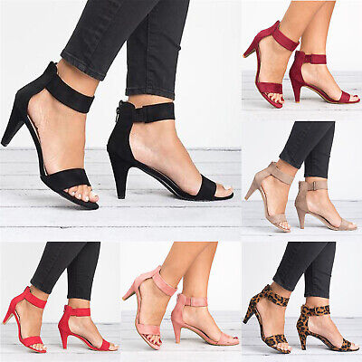Women Ankle Strap Pumps High Cone Heels Shoes Ladies Peep Toe Casual Sandals