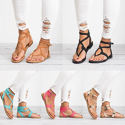 Women Flip Flops Sandals Cross Strappy Flats Ladies Boho Lace Up Gladiator Shoes