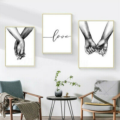 3PC Hands Prints Bedroom Wall Hanging Decorative Painting Canvas Pictures Art UK
