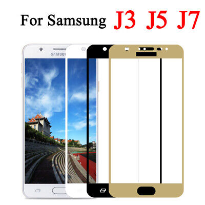 For Samsung Galaxy J3 J5 J7 2016/2017 Full Case Tempered Glass Screen Protector