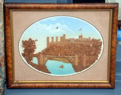 Antique Victorian Carved Cork Picture of a Castle from the River Diorama