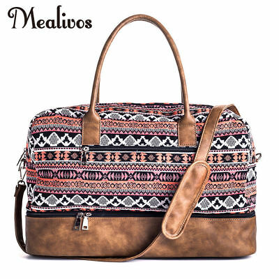 Mealivos Red Canvas Large Weekend Bag Overnight Travel Carry On Duffel