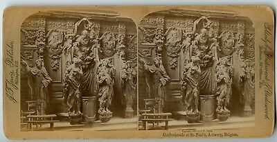 Confessionals at St. Paul's Church Antwerp Belgium Vintage Stereoview Photo 1889