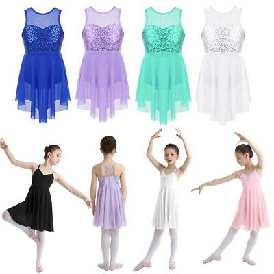 Girls Kids Sequins Ballet Dance Dress Ballerina Gymnastics Leotards Show Costume