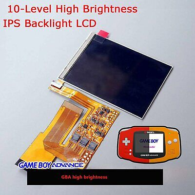 For Game Boy Advance GBA 10-Levels High Brightness IPS Backlight LCD Sceen Kit