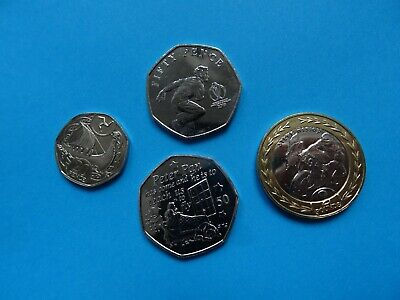 2019 Isle of Man coins - 4 MANX British NEW coins / £ 2 - 20 p - 50 pence