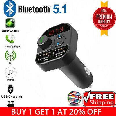 Bluetooth In-Car Wireless FM Transmitter MP3 Radio Adapter Car Kit 2USB Charger#