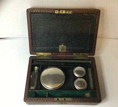 Victorian leather bound Stationery / Writing box With Jars And Bottle
