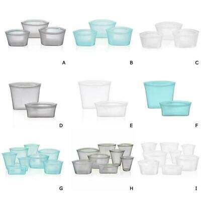 Zip Lock Leakproof Silicone Containers Storage Bags Plastic Set Cups Dishes W7E7