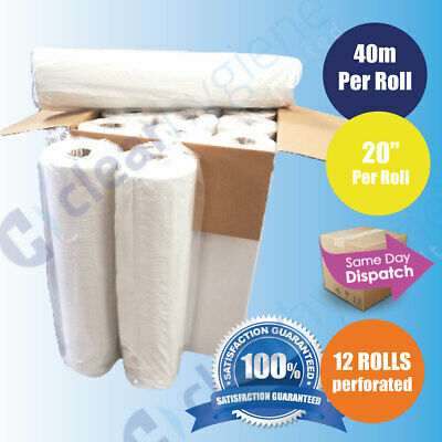 "SUPER Quality White 20"" Couch Rolls Hygiene Roll (12 Rolls) Buy 2 & Get 5% Off"