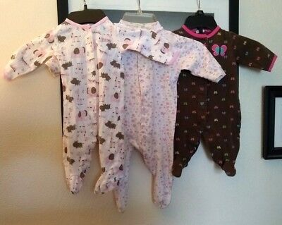 Lot of 3 size 3 mo, 3-6mo Infant Rompers Gerber pink green flower combin ship C