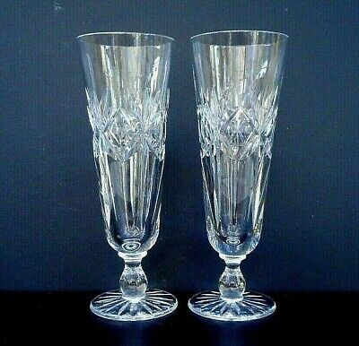 "Pair vintage cut crystal fluted champagne glasses - 17.5 cms (6.75"") tall"