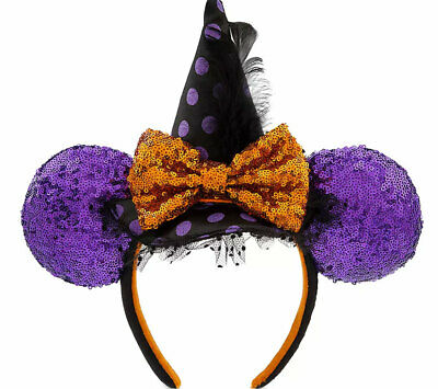 Disney Parks Minnie Mouse Witch Sequined Ear Headband – Halloween