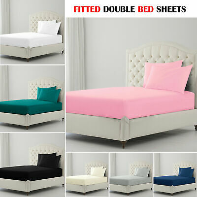 Plain QUILT Cover Bedding Set Cotton SOLID Fitted Double Bed Sheet+Pillow Cases