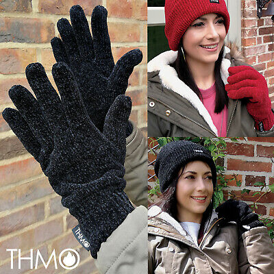 THMO - Womens Outdoor Thermal Winter Chenille 3M Thinsulate Lined Gloves