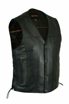 Men's Leather Vest with Single Back for Rockers DS105