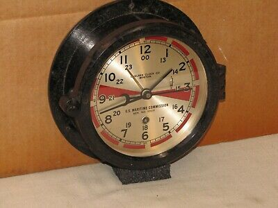 "Chelsea Vintage Ships Radio Room Clock~6"" Dial~1941~Ww2 Liberty Ship~Restored"
