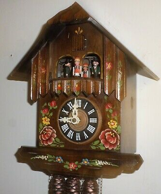 Nice German Black Forest Albert Schwab 2 Tune Music Dancers Chalet Cuckoo Clock!