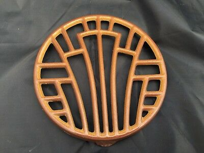Antique French brown enameled cast iron trivet Kitchenware