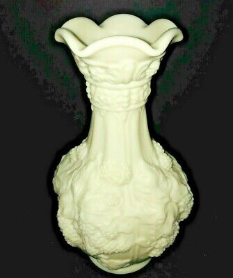 Vintage Imperial Milk Glass Custard Loganberry Vase with Satin Finish