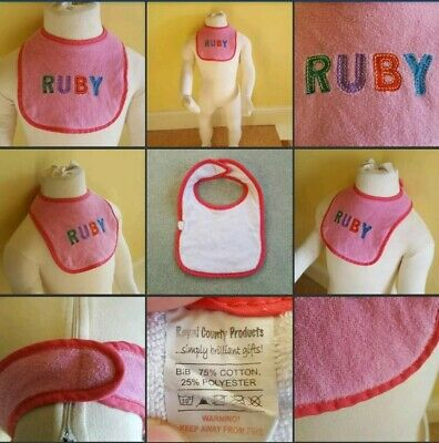 *Used* Lovely Little Pink Girls Baby Bib ♡Ruby♡ Burp Cloth~Dinner~Tea~Some Marks