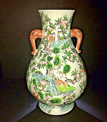 19th Century Chinese Qing Dynasty Porcelain Famille Verte Peach & Monkey Vase