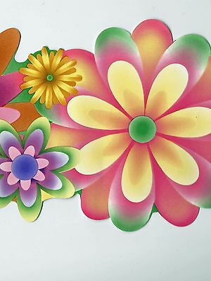 1960s Bold Flower Power Wallpaper Border LOT - 60 feet - Blonder Borders A024