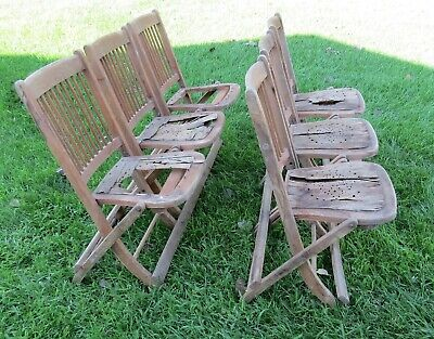 2 Sets of 3 Antique Conjoined Folding Chapel, Theatre, Chairs,'20s?  Restoration