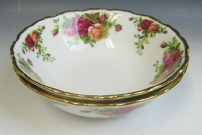 Pair of Royal Albert China OLD COUNTRY ROSES Cereal Bowls (Design Out) EX