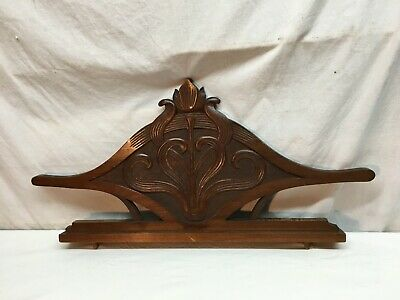 Vtg Architectural Ornate Wood Carved PEDIMENT HEADER Salvage 27.5in x 13in